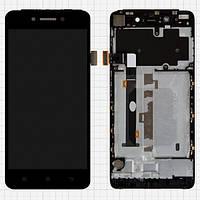 Дисплей (экран) для Lenovo S90 + с сенсором (тачскрином) и рамкой черный Оригинал