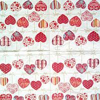 Салфетка декупажная 25x25см 24 Мелкие сердечки (товар при заказе от 200 грн)