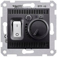 Термостат (терморегулятор) комнатный, графит, Sсhneider Electriс Sedna Шнайдер электрик Седна