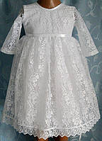 Нарядное белое платье для самых маленьких, кружево белое