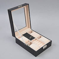 Шкатулка для часов и украшений J289 черная с замком, тиснение под крокодила