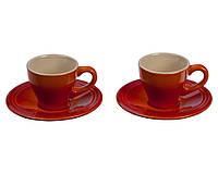 Набор керамических чашек с блюдцами для эспрессо Le Creuset Espresso Cups And Saucers Set of 2, 60 мл.
