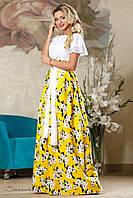 Женская летняя пышная юбка в пол с цветочным принтом жёлтая