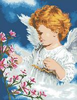 Набор алмазной вышивки Ангел с цветами. Размер холста 40х52см