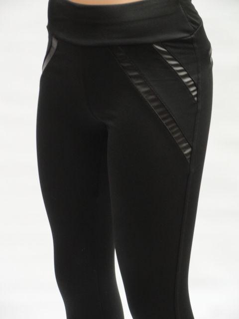 Модные женские лосины с вставками эко - кожа большого размера