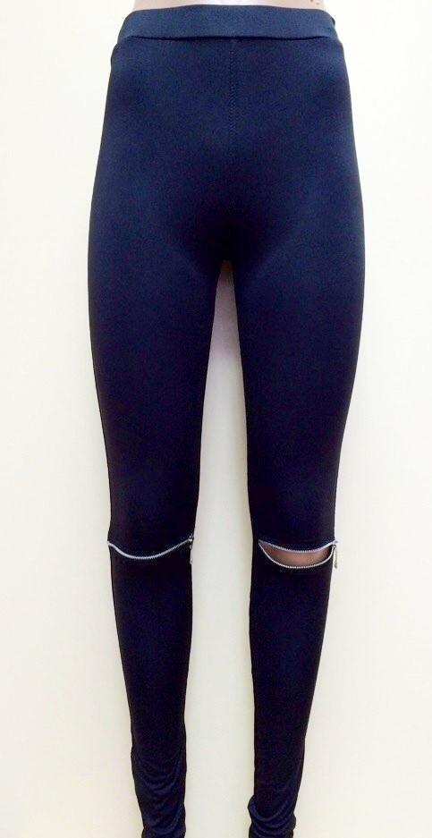 Оригинальные женские лосины с замками на коленях