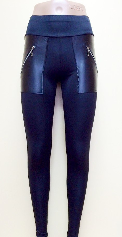 Модные женские лосины с имитацией кожаных карманов + замочки
