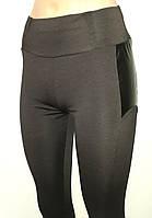 Модные женские лосины с кожаными вставками по бокам на бедрах, фото 1