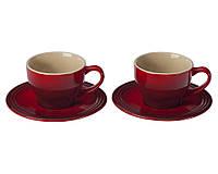 Набор керамических чашек с блюдцами для капучино Le Creuset Cappuccino Cups And Saucers Set of 2, 200 мл.