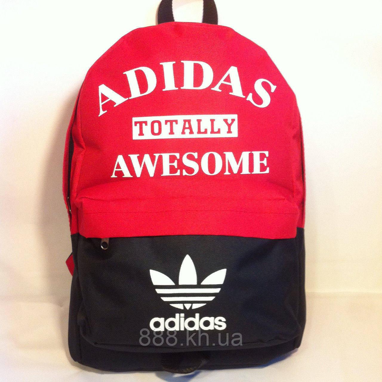 Рюкзак городской Adidas, спортивный рюкзак адидас черный/красный