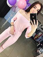 Трикотажный комбинезон розовый