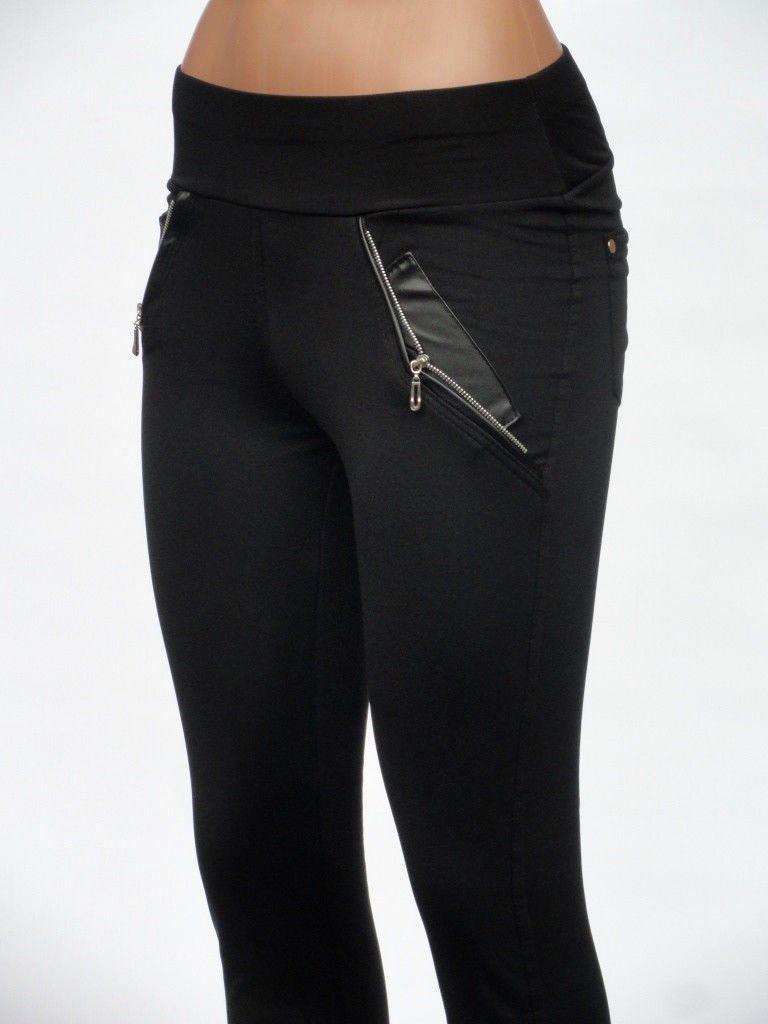 Красивые женские лосины с замочками на кармашках