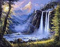 Алмазная мозаика без коробки MyArt Горный водопад 40 х 50 см (арт. MA486), фото 1