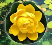 Цветок Лотоса декоративный плавающий 10 х10х5 см(водяная лилия)желтый