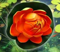 Цветок Лотоса декоративный плавающий 10 х10х5 см(водяная лилия) оранжевый