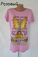 """Футболка женская вискозная """"Париж-бабочка"""" - розовая"""