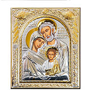 Святое Семейство в серебрянной иконе с позолотой 208 мм х 245 мм