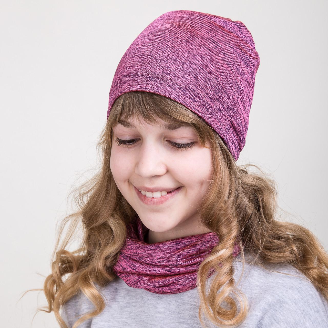 Модный весений комплект из шапки и хомута для девочки - Артикул 2074с