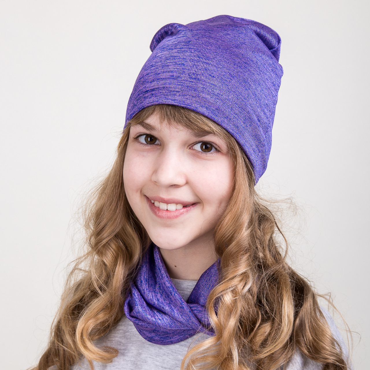 Весений комплект для девочки из шапки и хомута - Артикул 2074d