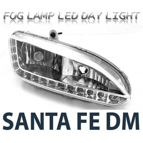 Дневные ходовые огни LED с ПТФ 2WAY (EURO STYLE) - Hyundai Santa Fe DM / ix45 (LEDIST)