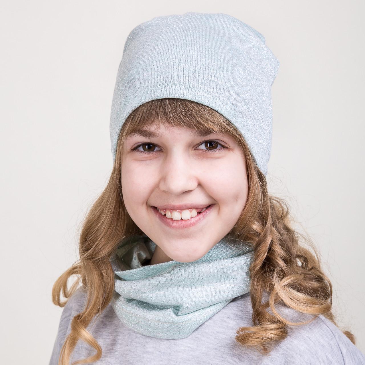 Модный весений комплект из шапки и хомута для девочки - Артикул 2075b
