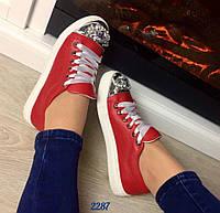 Стильные женские слипоны в стиле MIU натуральная кожа, носок декорирован камнями. Цвет красный