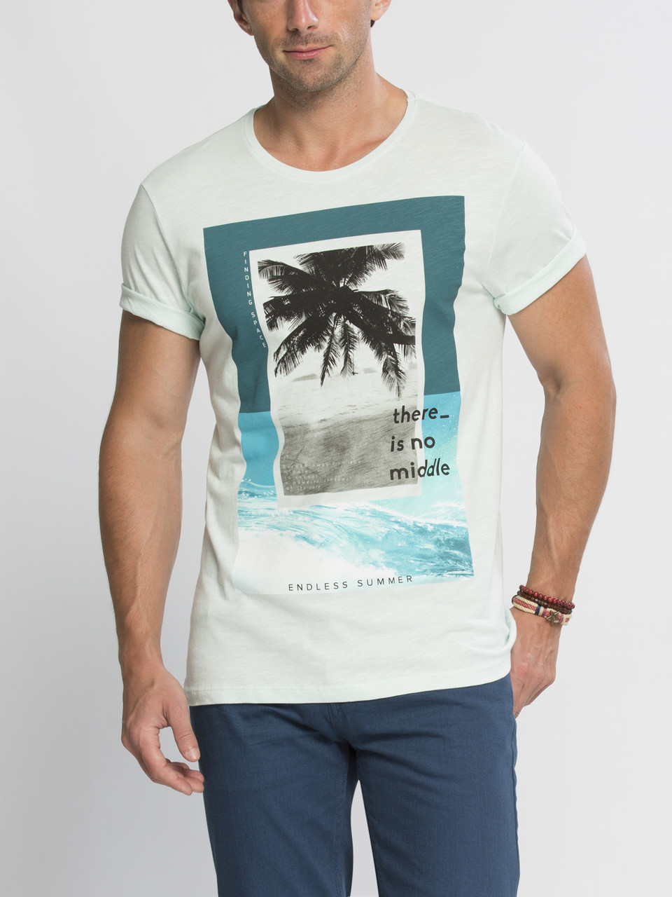 Мужская футболка мятная LC Waikiki / ЛС Вайкики с пальмой на груди