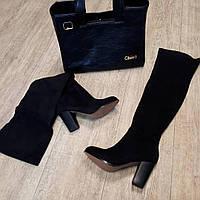 Черные сапоги -чулки ботфорты каблук