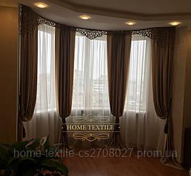 Готовые шторы в эркер с ажурным ламбрикеном