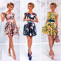 Модный женский сарафан с поясом принт цветы / Украина / лён