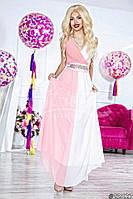 Нарядное женское платье длинное двухцветное,ткань масло атлас шифон,цвет белый и розовый