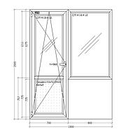 Балконный блок металлопластиковый 1500х2000 сендвич панель