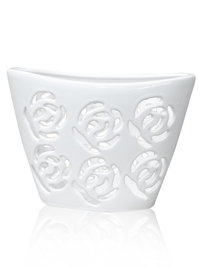 Ваза-декор для цветов керамическая глянцевая белая ажурная Розы. - April House производство и продажа товаров для дома в Одессе