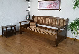 """Деревянный диван """"Ян Марти - 4"""". Массив дерева - ольха, покрытие - """"лесной орех"""" (№ 44)."""