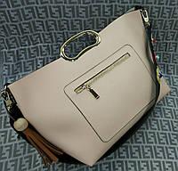 Модная женская сумка с ручкой эко-кожа бежевая