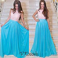 Платье Азалия розовый верх-голубой низ, m