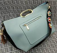 Модная женская сумка с ручкой эко-кожа голубая