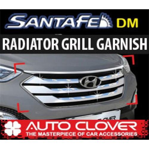 Молдинг решетки радиатора B229 (ХРОМ) - Hyundai Santa Fe DM / ix45 (AUTO CLOVER)