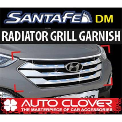 Молдинг решетки радиатора B229 (ХРОМ) - Hyundai Santa Fe DM / ix45 (AUTO CLOVER), фото 2