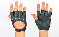 Перчатки спортивные автомобильные кожзам BC-0132-BK (откр.пал, р-р M, L, застежка кнопка, черный)