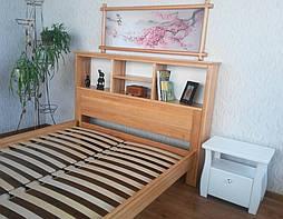 """Кровать с полками в изголовье """"Комби"""" (200*160), массив дерева - ольха, покрытие - лак. 3"""