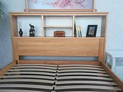 """Кровать с полками в изголовье """"Комби"""" (200*160), массив дерева - ольха, покрытие - лак. 4"""