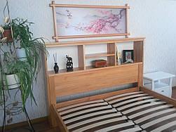 """Кровать с полками в изголовье """"Комби"""" (200*160), массив дерева - ольха, покрытие - лак. 5"""