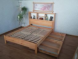"""Кровать с полками в изголовье """"Комби"""" (200*160), массив дерева - ольха, покрытие - лак. 6"""