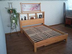 """Кровать с полками в изголовье """"Комби"""" (200*160), массив дерева - ольха, покрытие - лак. 7"""