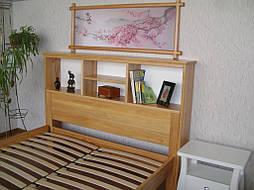 """Кровать с полками в изголовье """"Комби"""" (200*160), массив дерева - ольха, покрытие - лак. 8"""