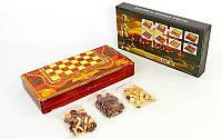 Настольная игра 3 в 1 Шахматы + Нарды + Нарды 5008: дерево, размер доски 48х48см