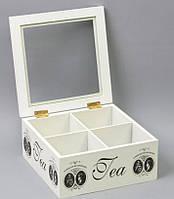 Деревянная шкатулка для чая FB218. Подарки в стиле Прованс