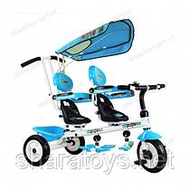 """Детский 3х колесный велосипед """"Супер трешка"""" двухместный"""