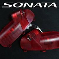 Плафоны ламп подсветки дверей с LED-проекцией логотипа - Hyundai YF Sonata / i45 (EXLED)
